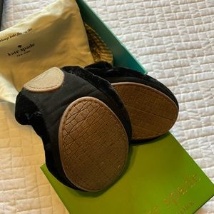 kate spade Shoes - Kate Spade Velvet Black foldable ballet flats